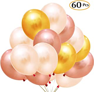 """Party Balloons, 12"""" 60Pcs Gold&Pink&Champagne Gold Party Balloon Decoration Supplies - Great Glitter Rose Gold Assorted Color globos for Birthday/Engagement/Bridal/Wedding/Graduation/Proms/Baby Shower"""
