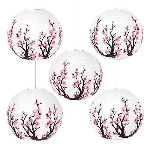 JAEP Japanese Lantern - Artistic Japanese Decor for Wedding Decorations, Oriental Style, Party Indoor Outdoor- Traditional Asian Decor -Pink Bedroom Decor - Paper Chinese Lanterns 16 Inch (Pack of 5)…