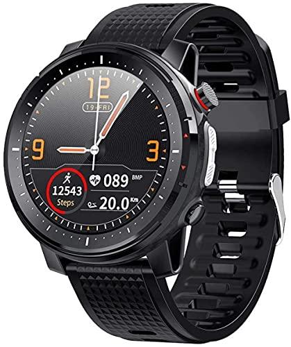 IP68 impermeable reloj inteligente pulsera táctil botón 1.3 pulgadas pantalla redonda monitoreo del sueño seguimiento ejercicio fitness paso contador negro