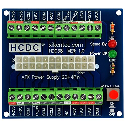 HCDC 24/20-pin ATX DC Power Supply Breakout Board Module