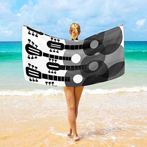 Mikrofaser-Strandtücher zwart-wit gitaren großes Reise-Handtuch – Ultra saugstark, schnell trocknend Gym Handtuch für Männner, Frauen und Kinder