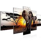 África Elefante Cuadro Lienzo no Tejido 5 Piezas Panorama Gris Naranja Dormitorio Corredor 007653a
