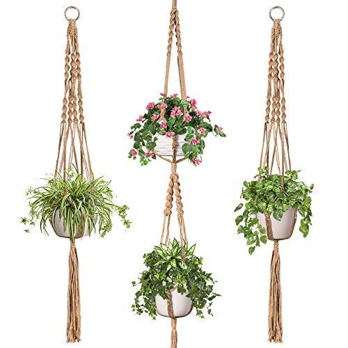 TimeYard Macrame Plant Hangers Set of 3 - Handmade Indoor Outdoor Hanging...