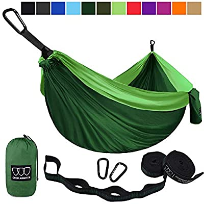 Gold Armour Camping Hammock - USA Brand Single Parachute Hammock (2 Tree Straps 10 Loops/20 ft Included) Lightweight Nylon Portable Adult Kids Best Accessories Gear (Green and Green)