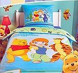 Juego de cama con funda de edredón de Disney – Ropa de cama infantil • 140 x 200 cm + funda de almohada • Plumón Cover (Winnie the Pooh • Darby y Tigrou)