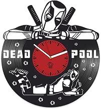 Kovides Deadpool Vinyl Clock, Wade Ryan Reynolds, Film Vinyl Record Clock, Best Gift for Him, Vinyl Wall Clock, Home Decor, Comics Marvel DC Movie, Silent Mechanism, Wall Art Decor