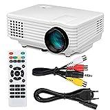 Mini proyector LED Proyector Inteligente portátil Full HD 1080P Soporte con Altavoz Integrado para Cine en casa Cine al Aire Libre, Fire Stick/HDMI/VGA/USB/TV/Laptop(Enchufe de la UE)