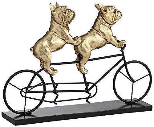 Studio 55D Bulldogs on Bicycle 15 3/4' Wide Gold Sculpture