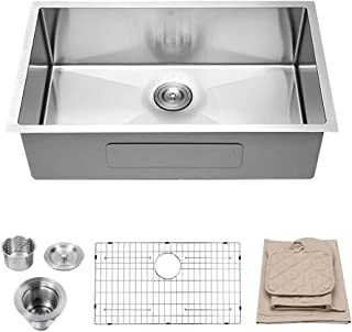Lordear LU2818R1 28 Inch Undermount Deep Single Bowl 16 Gauge R10 Tight Radius Stainless Steel Kitchen Sink
