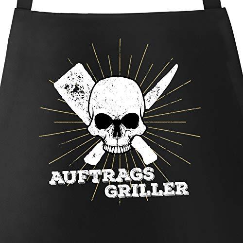 MoonWorks Coole Herren Grillschürze Auftragsgriller Totenkopf Skull Küchenschürze Barbecue-Schürze Fun-Schürze schwarz Unisize