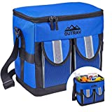 Blue Padded Insulated Cooler – 30 Can Capacity - Soft Collapsible Leak Proof Tote for Camping, Picnics and Travel – Large Main Compartment, 2 Front Pouches, Handle and Shoulder Strap - Outrav