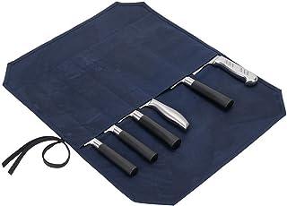 Bolsa de lona encerada para cuchillos de chef enrollados, resistente bolsa de almacenamiento para cuchillos y cubiertos, bolsa de herramientas con 6 ranuras para cuchillos de cocina para chefs