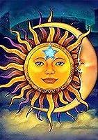 ダイヤモンドアート 大きい 抽象的な太陽と月 55x80cm