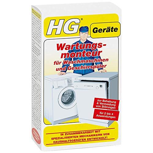 HG Wartungsmonteur für Waschmaschinen und Geschirrspüler 200 ml – ein Spezialreiniger der Störungen in Waschmaschinen und Spülmaschinen verhindert und behebt