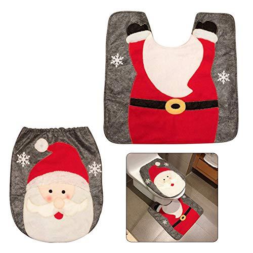 Pveath - Set di 2 decorazioni natalizie per bagno, motivo: Babbo Natale/pupazzo di neve/ renne, include tappetino e copriwater, decorazioni natalizie per la casa, arredamento interni