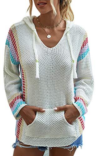 Spec4Y Hoodie Damen Langarm V-Ausschnitt Kordelzug Kapuzenpullover Gestreift Farbblock Lässige Pullover Sweatshirts mit Taschen Weiß Small