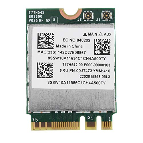 Vbestlife Tarjeta de Red NGFF Dual Banda 433Mpbs M2m Alta Velocidad de Transmisión Tarjeta WiFi Inalámbrica 802.11AC para Lenovo