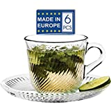 Glass Tea Cups and Saucers Sets, 6 PCs Clear Glass Coffee Mugs and 6-PCs Glass Saucers, Vintage Turkish Style 6 oz Capacity