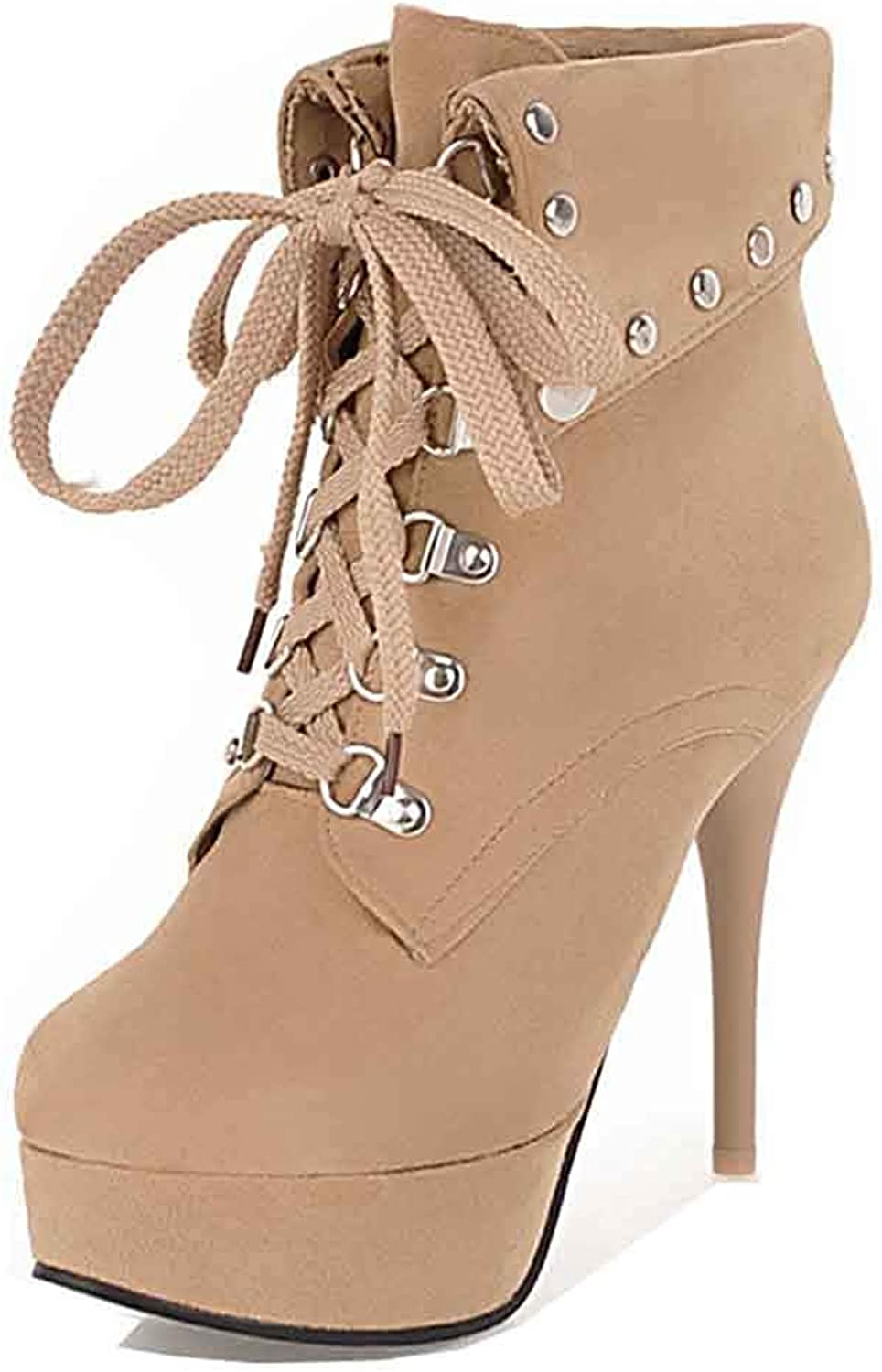 Unm Women's Studded Fold Over Cuffed Platform Booties Lace Up Round Toe Stiletto High Heel Ankle Boots