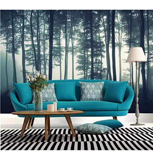 Wuyii gebruikergedefinieerd fotobehang 3D dichte mist boom muurschildering woonkamer tv sofa slaapkamer muurschildering natuur landschap behang 250 x 175 cm.