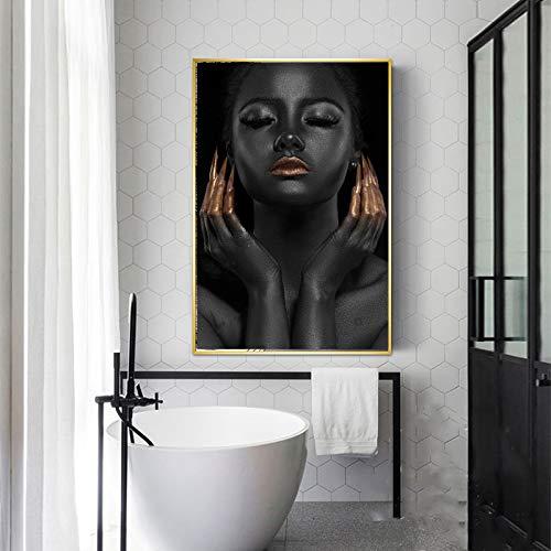 SADHAF Zwarte meisjes goud nagellak canvas mode canvas kunstdruk levendige kunst wanddecoratie 60x90cm (kein Rahmen) A5