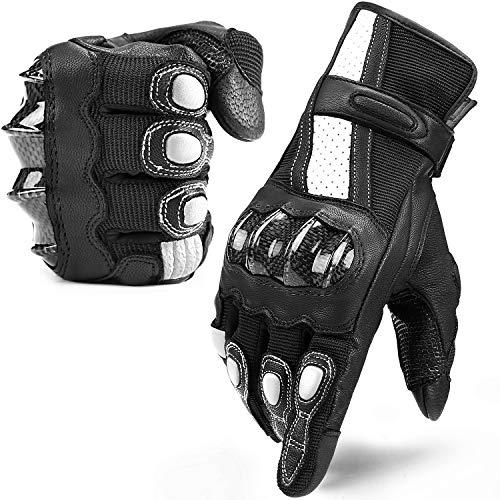 INBIKE Guanti Moto Pelle di Capra Touchscreen Protezione Antiscivolo Sportivo (Nero&Bianco,XL)