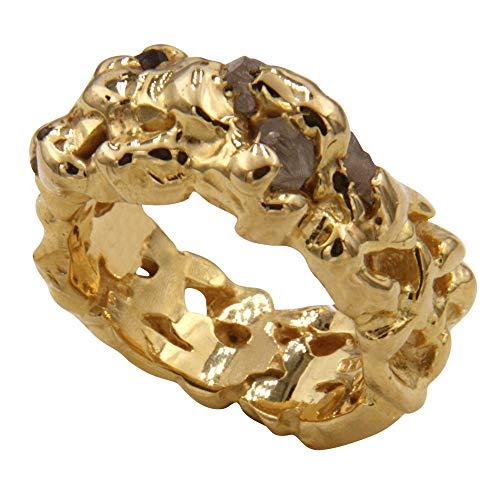 Anello massiccio con 5 diamanti grezzi, lavorazione artigianale di alta qualità dalla Germania (argento Sterling 925 placcato oro di alta qualità), anello da uomo e da donna con esperienza
