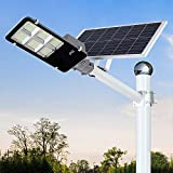 300W LED Solar Street Lights Outdoor, Dusk to Dawn Security Flood Light with Remote Control, Waterproof, Ideal for Parking Lot, Yard, Pathway and Driveway (Cool White)