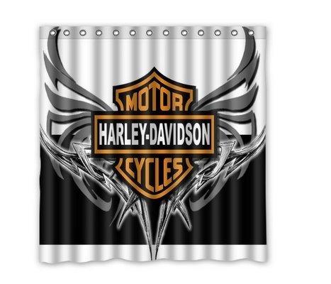 Custom Harley Davidson Waterproof Polyester Fabric Bathroom Shower Curtain [Duschvorh?nge] [Duschvorhang] Standard Size 66(w)x72(h) [XKOWDEF1206]