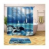Daesar 40x60 Badematte Badewanne rutschfest Segelschiff auf See Vintage Duschvorhang 165x200 cm, Badezimmerteppich Set 2 Teilig