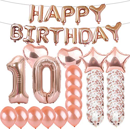 Sweet 10th Birthday Decorations Party Supplies,Rose Gold Number 10 Balloons,10th Foil Mylar Balloons Latex Balloon Decoration,Great 10th Birthday Gifts for Girls,Women,Men,Photo Props