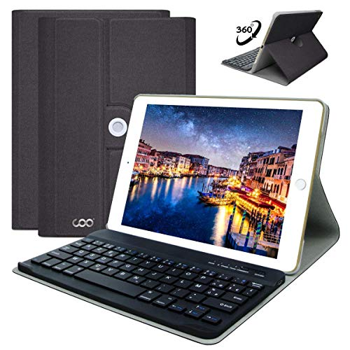 COO Funda con Teclado iPad para iPad 2018 (6th Gen)/iPad 2017/iPad Pro 9.7/iPad Air 2/1, Cubierta iPad con Teclado Español Bluetooth Desmontable Inalámbrico con Smart Auto Sleep-Wake (Gris Oscuro)