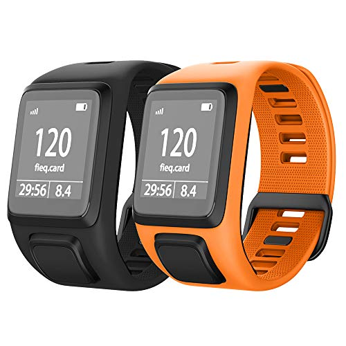 NotoCity Compatible with Spark 3/Golfer 2/Adventurer/Runner 2/3/ Silicone Watch Band Replacement for Spark/Spark 3/Golfer 2/Adventurer/Runner 2/3 Smartwatch (Black/Orange)