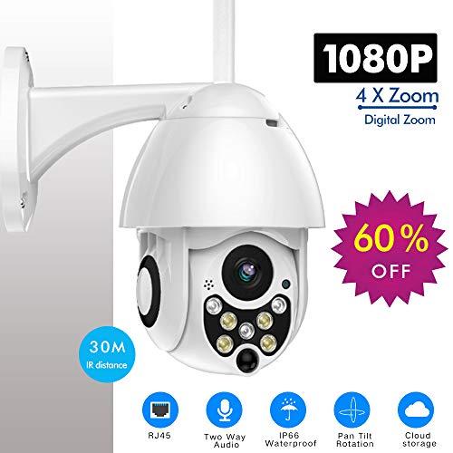 Shangying Cámara IP de 1080P PTZ Cámara Domo de Velocidad inalámbrica Cámara de Seguridad inalámbrica WiFi Pan Tilt 4X Zoom IR Red CCTV Vigilancia 720P 1080p (incluida la Tarjeta SD 32G)