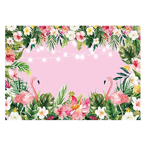 Funnytree 7x5ft Pink Flamingo Birthday Backdrop Summer Tropical Hawaiian Floral Photography Background for Flamingle Boy Girl Party Plam Flower Baby Shower Decorations Photo Booth Cake Table Banner