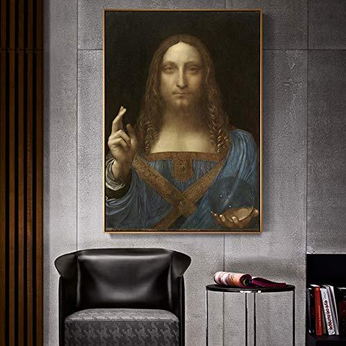 SADHAF Da Vincis berühmte Wandkunst-Reproduktion auf Leinwand Gedrucktes Wohnzimmer Art Deco A2 40x50cm
