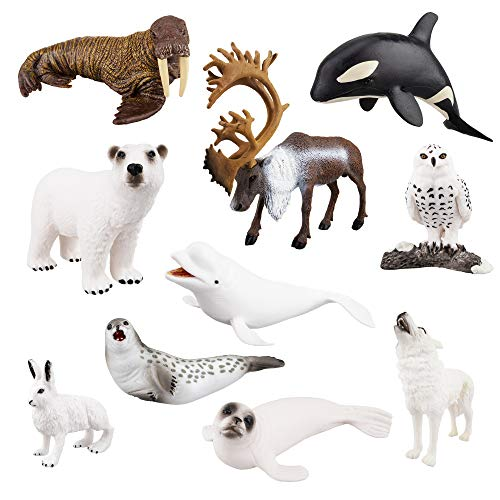 TOYMANY 10PCS 2-7' Realistic Polar Animal Figurines, Plastic Arctic...
