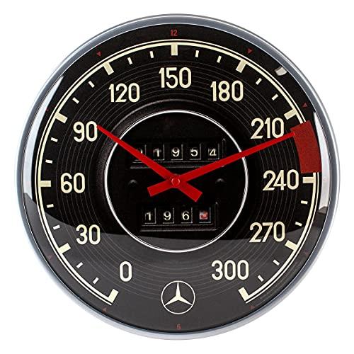 Nostalgic-Art 51091 Retro Wanduhr Mercedes-Benz – Tacho – Geschenk-Idee für Auto Accessoires Fans, Große Küchenuhr, Vintage-Design zur Dekoration, 31 cm