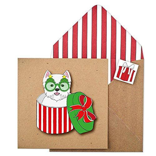 Tache Premium Handgemaakte Westie Hond In Kerstmis Doos Kerstkaart