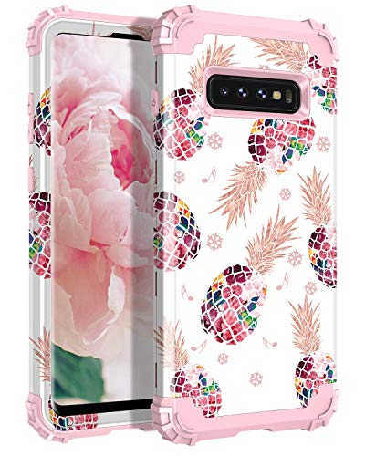 LONTECT for Galaxy S10 Case Floral 3 in 1 Heavy Duty Hybrid Sturdy Armor High Impact Shockproof Protective Cover Case for Samsung Galaxy S10, Pineapple/Rose Gold