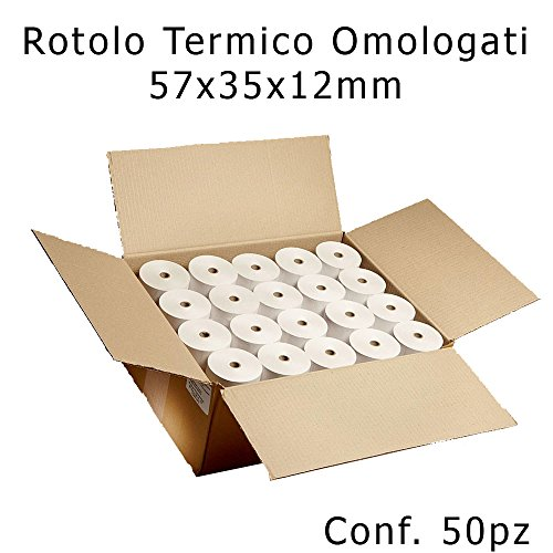 Confezione 50 Rotoli Termici mm 57x35 mt Omologati per Registratore di Cassa Carta Termica 1^ Qualità