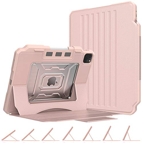 MoKo Case Fit iPad Pro 11 2nd Gen 2020 & 2018 - [Support Apple Pencil 2 Charging] Shockproof Rugged Protective Case with Multi-Angle Magnetic Stand, Pencil Holder & Auto Sleep/Wake - Rose Gold
