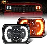 DOT Approved 120W 7X6 Inch Rectangle LED Headlights with DRL/Turn Signal Compatible with jeep Wrangler YJ Cherokee XJ Toyota Ford