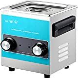 VEVOR Knob Ultrasonic Cleaner 2L Ultrasonic Cleaning Machine 110V/40Khz Sonic Cleaner 304 Stainless Steel Ultrasonic Cleaner Machine with Mechanical Heater & Timer for Cleaning Jewelry Glasses Watches