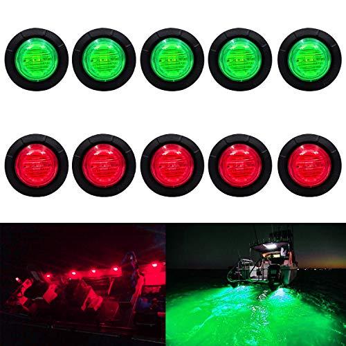 (5 Red + 5 Green) Waterproof Marine Boat LED Lights, LED Underwater Lighting, Utility Led Interior Lights Navigation Lights Deck Courtesy Lights 12V for Yacht Boat Fishing Pontoon Sailboat Kayak