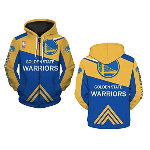 Warriors - Sudadera con capucha de manga larga con cremallera, para hombre, estilo informal, para entrenamiento de baloncesto, impresión digital 3D, manga larga, informal, cálida