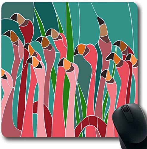 Mousepads Für Computer,Büro Mausmatte,Matte Mit Genähten Kanten,Spiel Mauspad,Blume Flamingo Glasmalerei Fenster Zusammenfassung Grüne Blüte Helle Tür Ost Floral Gaming Mouse Pad