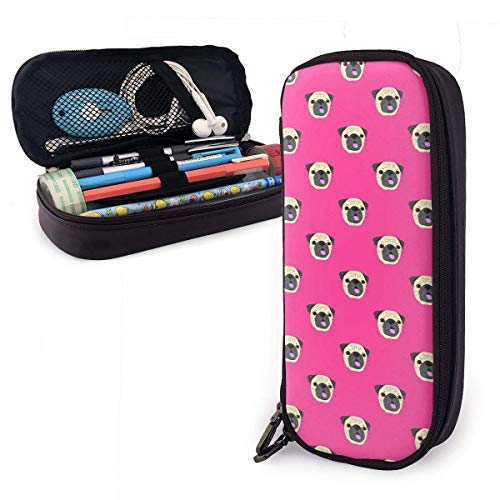 Cute Pug Charm Pride Rose Red Themed Pattern Printed Mini School Pencil Case Holder Pouch Office Pen Box Zipper Bag Set Pu Leather Zip for Girls Boy Men Women Accessories