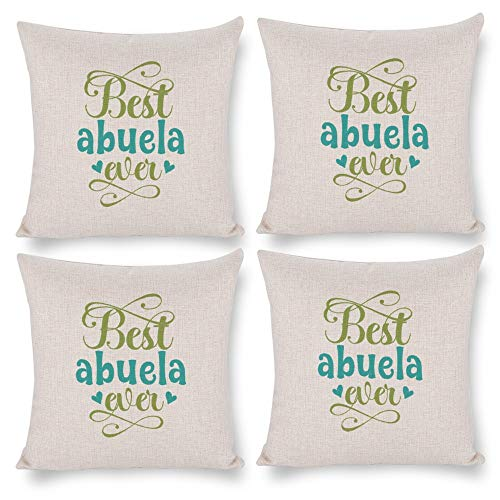 No branded Pack 4,Pillow Covers 18x18 Set of 4,Throw Pillow Cases Home Decor 4pcs Best Abuela Ever Farmhouse Square Pillow Cushion Pillowcase for Sofa Bedroom Car Patio Chair Nursery