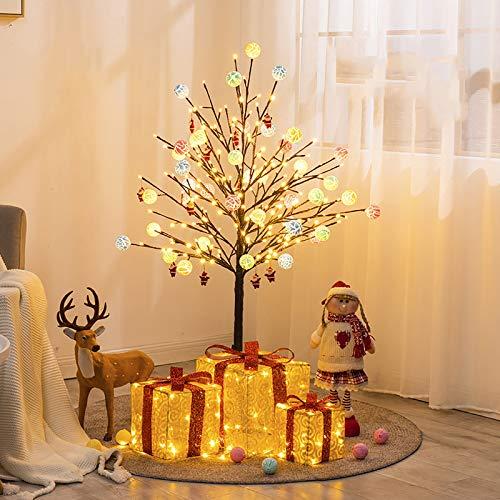 4 Pies Pequeño Árbol De Navidad Con Ornamento Caramelo Santa Claus Caja De Regalo,Blanco Cálido Metal Lámpara De Pie Para El Centro Come,Navidad Led Iluminado Árbol De Cerezo Árbol-A 120cm/4ft